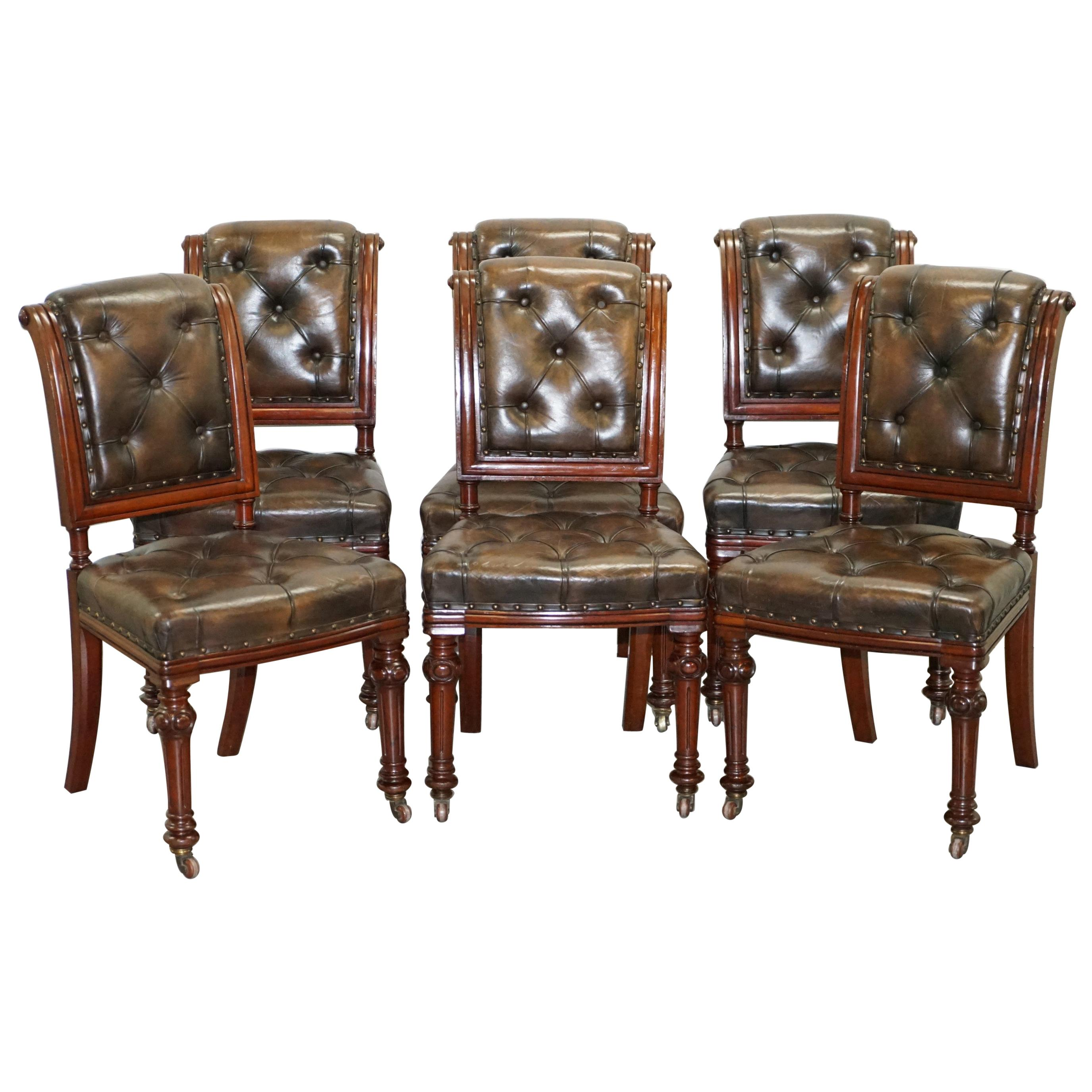 Suite of 6 John Crowe & Sons Victorian Chesterfield Brown Leather Dining Chairs
