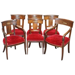 Suite of 6 Napoleon III French Empire Revival Dining Chairs Mahogany and Bronze