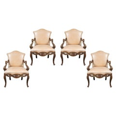 Suite of Antique, Painted, Venetian Chairs