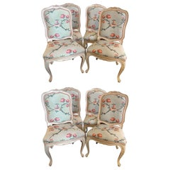 Suite of Eight Louis XV Style Polychrome Chairs, Made in Italy