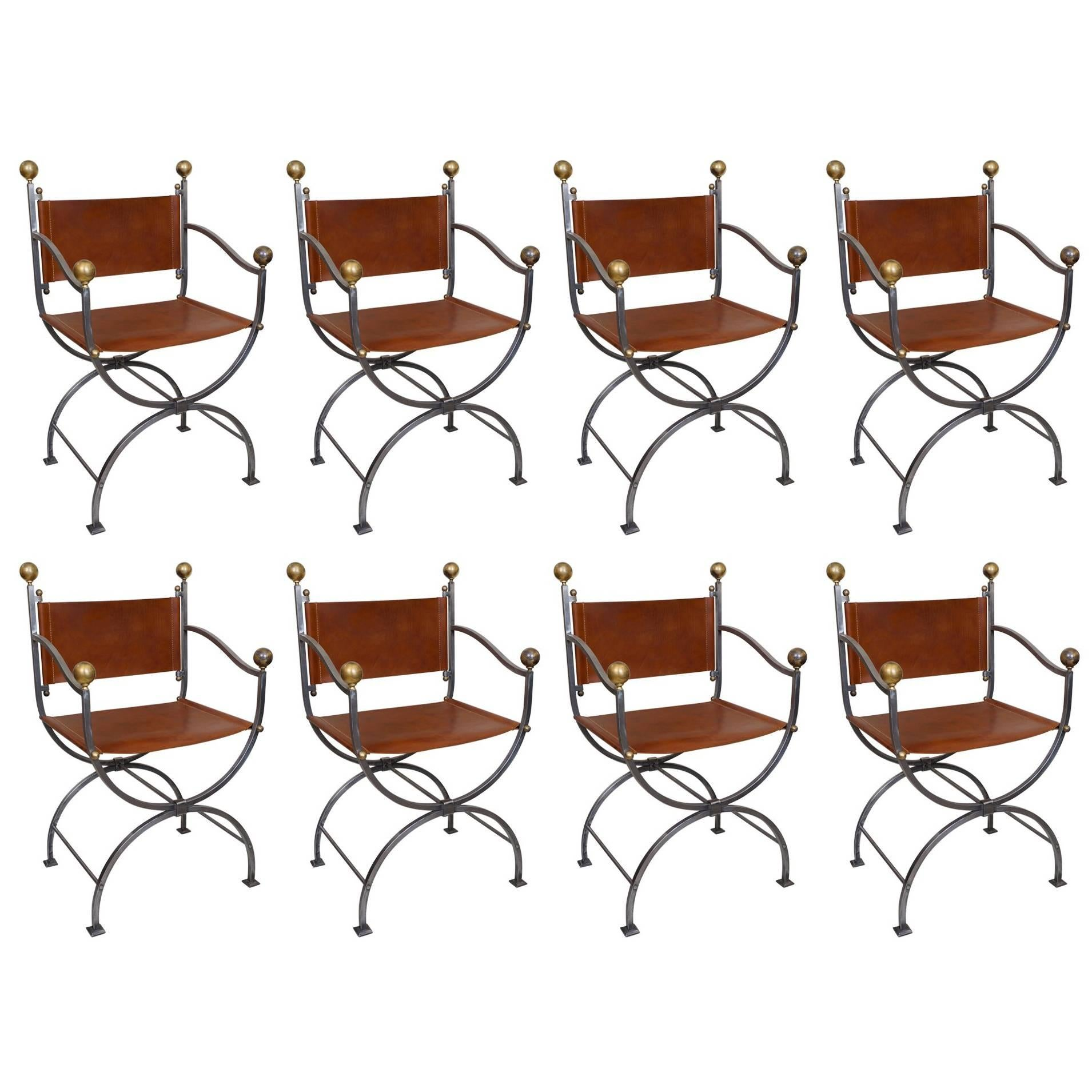 Suite Of Eight Wrought Iron, Brass And Leather Dining Room Armchairs For  Sale