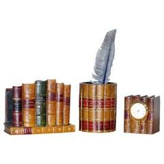 Suite of Faux Book Brown Leather Desk Accessories Pen Pot Desk Tidy Book Clock