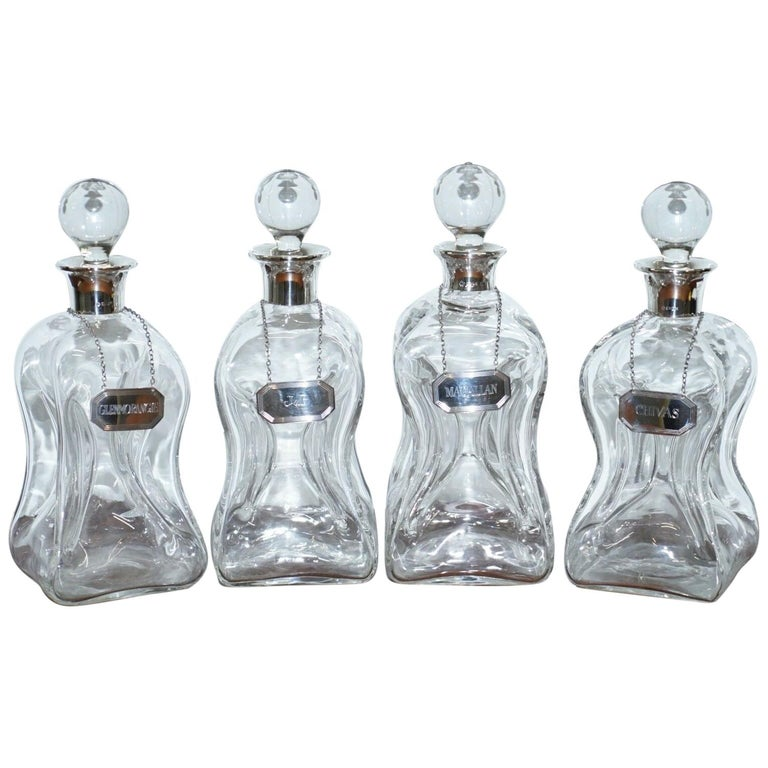 Suite of Four 1960s Asprey London Pinch Decanter Vases Sterling Silver Labels For Sale