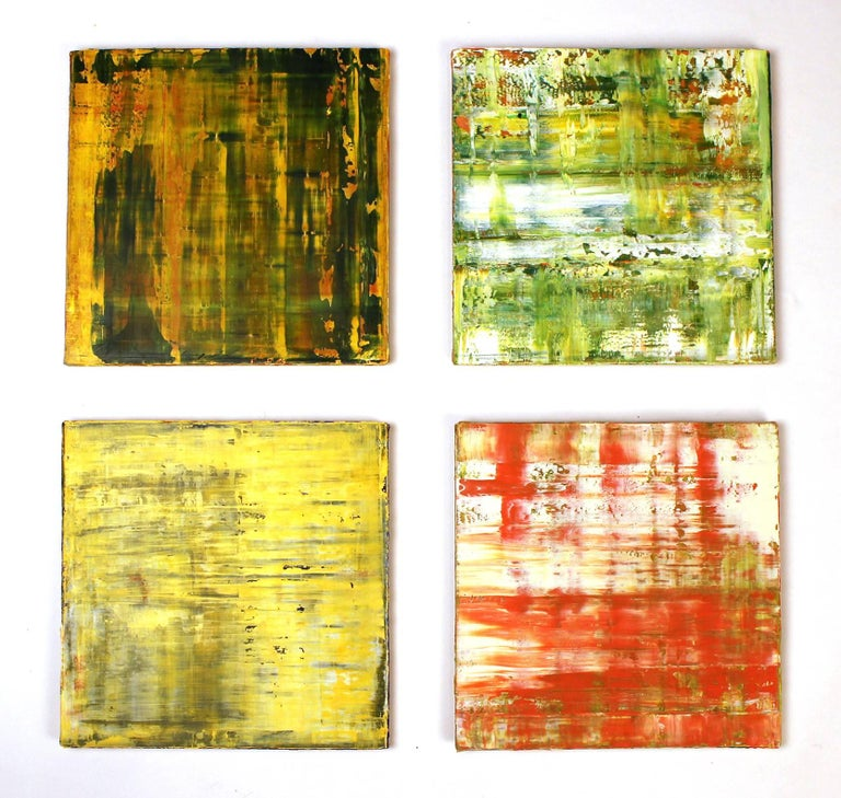 Set of four abstract oil paintings on linen mounted to chipboard. Titled Yellow Field, Orange Field, Green Field and Light Green Field. Can be hung in a grouping or individually. Would work well in a frame but they were designed by the artist to