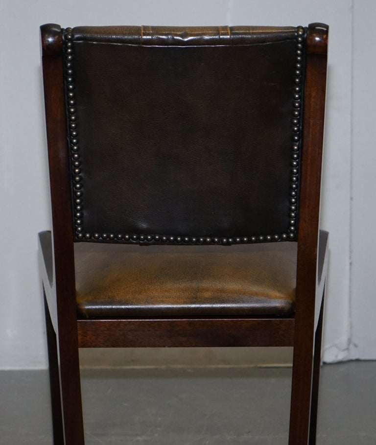 Suite of Four Aged Pretol Brown Leather & Mahogany Chesterfield Dining Chairs 4 For Sale 4