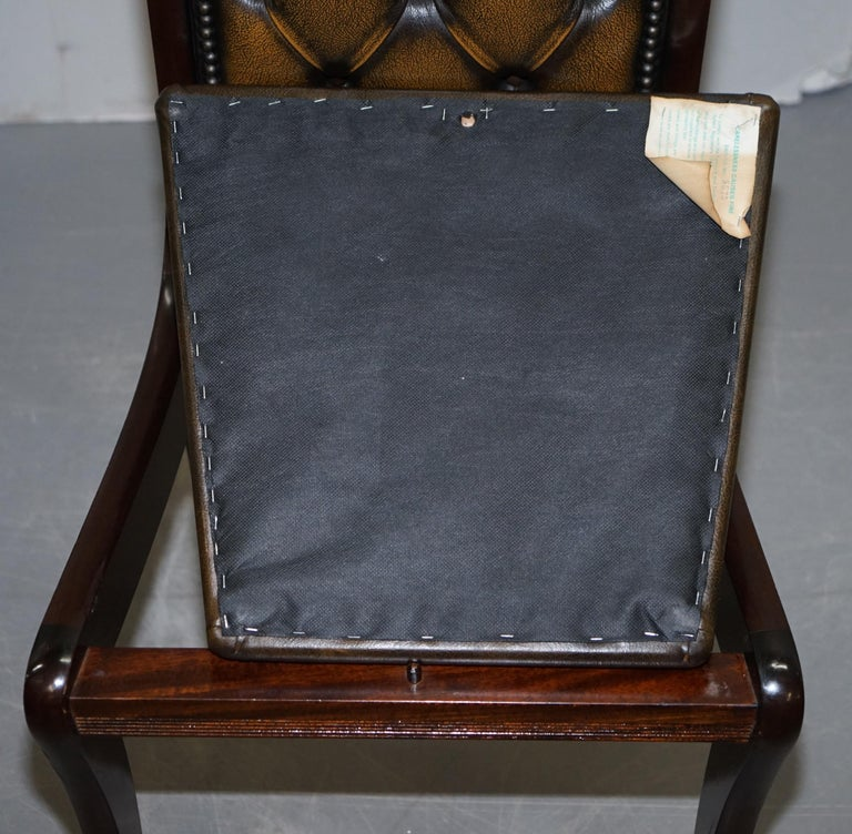 Suite of Four Aged Pretol Brown Leather & Mahogany Chesterfield Dining Chairs 4 For Sale 5