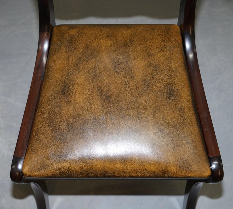 Suite of Four Aged Pretol Brown Leather & Mahogany Chesterfield Dining Chairs 4 For Sale 7