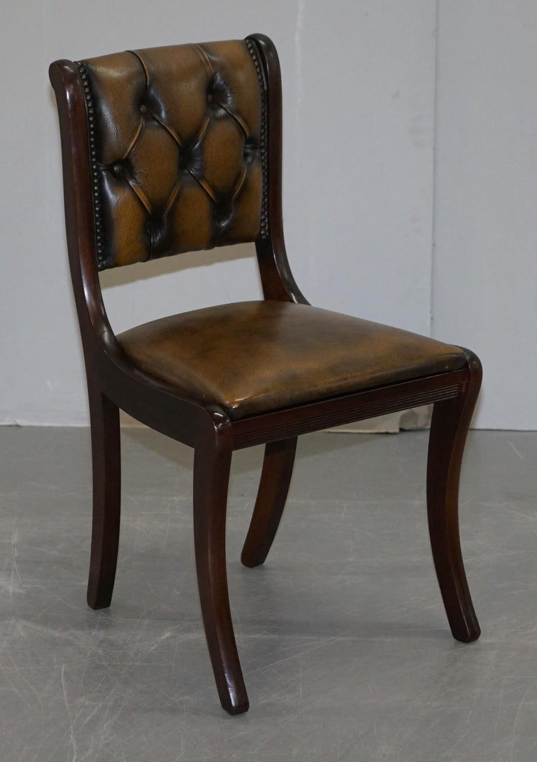 Suite of Four Aged Pretol Brown Leather & Mahogany Chesterfield Dining Chairs 4 For Sale 8