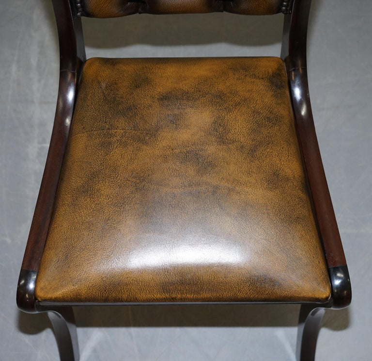 Suite of Four Aged Pretol Brown Leather & Mahogany Chesterfield Dining Chairs 4 For Sale 9