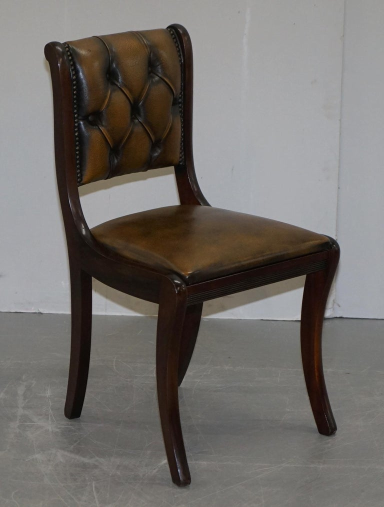 Suite of Four Aged Pretol Brown Leather & Mahogany Chesterfield Dining Chairs 4 For Sale 10