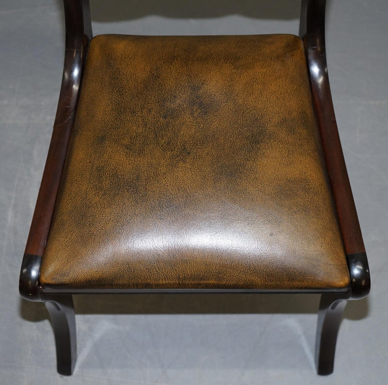 Suite of Four Aged Pretol Brown Leather & Mahogany Chesterfield Dining Chairs 4 For Sale 11