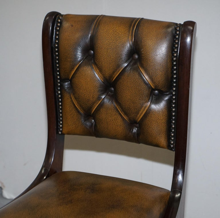 Suite of Four Aged Pretol Brown Leather & Mahogany Chesterfield Dining Chairs 4 For Sale 12