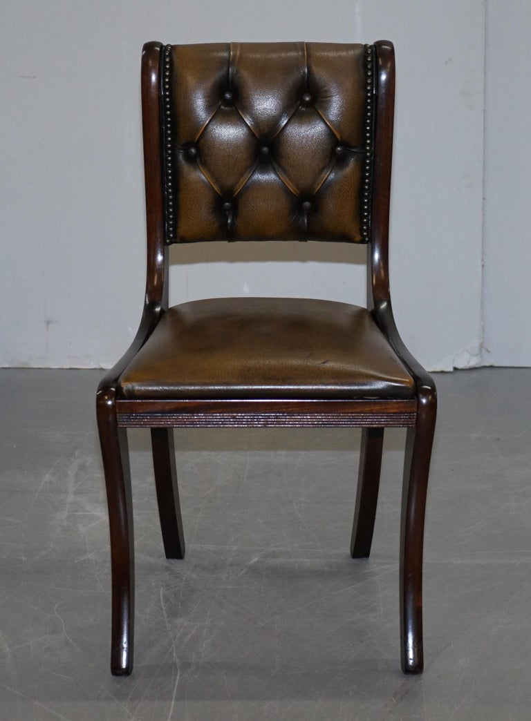 English Suite of Four Aged Pretol Brown Leather & Mahogany Chesterfield Dining Chairs 4 For Sale