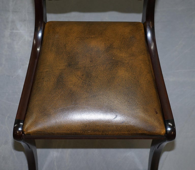 Hand-Crafted Suite of Four Aged Pretol Brown Leather & Mahogany Chesterfield Dining Chairs 4 For Sale