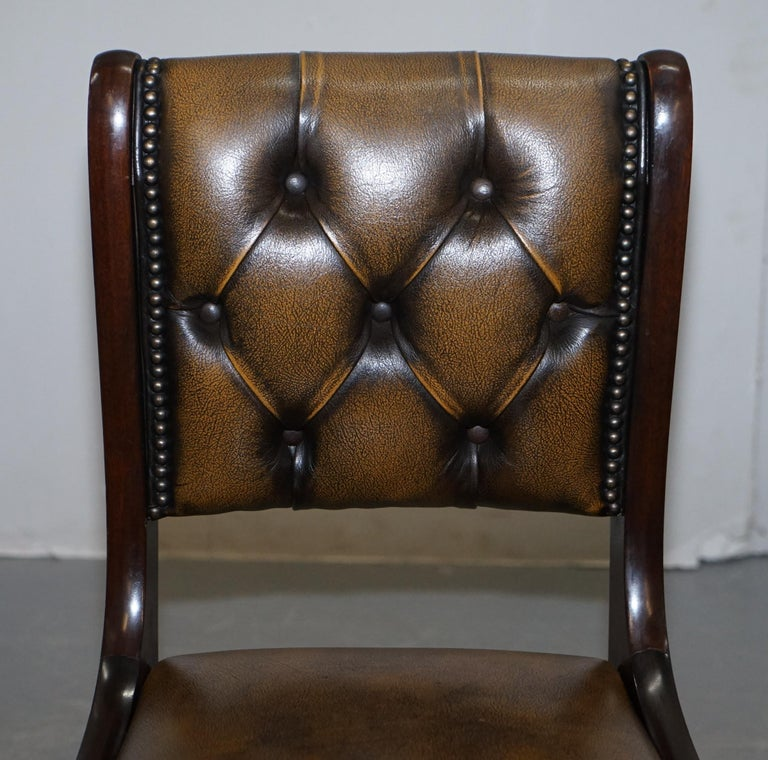 Suite of Four Aged Pretol Brown Leather & Mahogany Chesterfield Dining Chairs 4 In Good Condition For Sale In London, GB