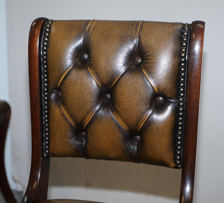 20th Century Suite of Four Aged Pretol Brown Leather & Mahogany Chesterfield Dining Chairs 4 For Sale