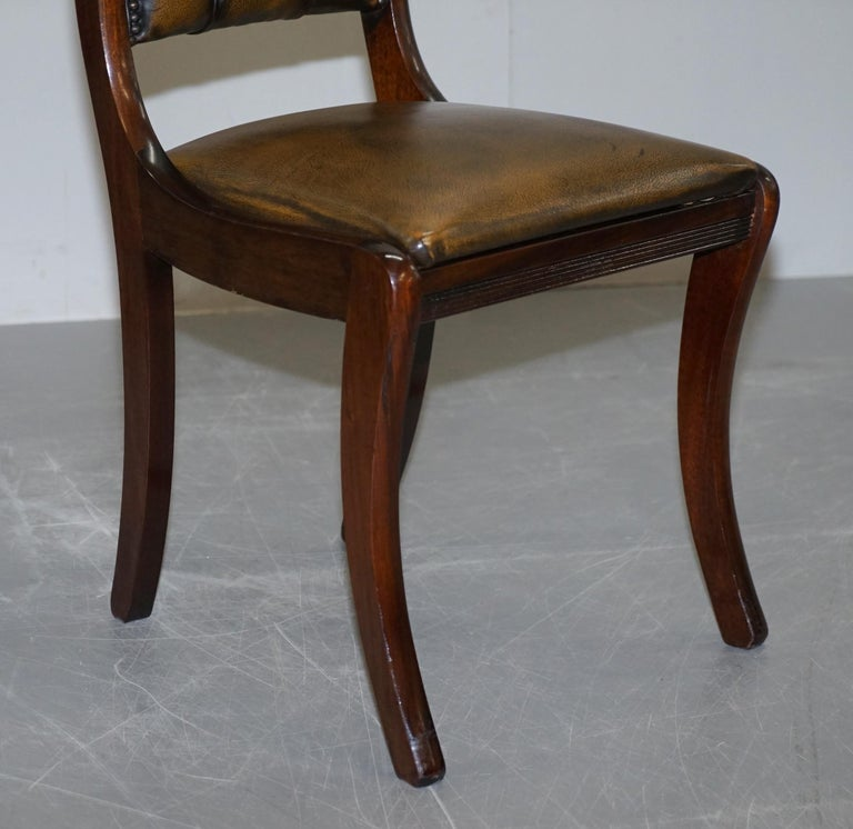 Suite of Four Aged Pretol Brown Leather & Mahogany Chesterfield Dining Chairs 4 For Sale 1