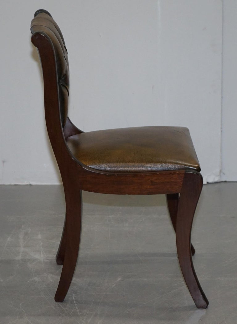 Suite of Four Aged Pretol Brown Leather & Mahogany Chesterfield Dining Chairs 4 For Sale 2