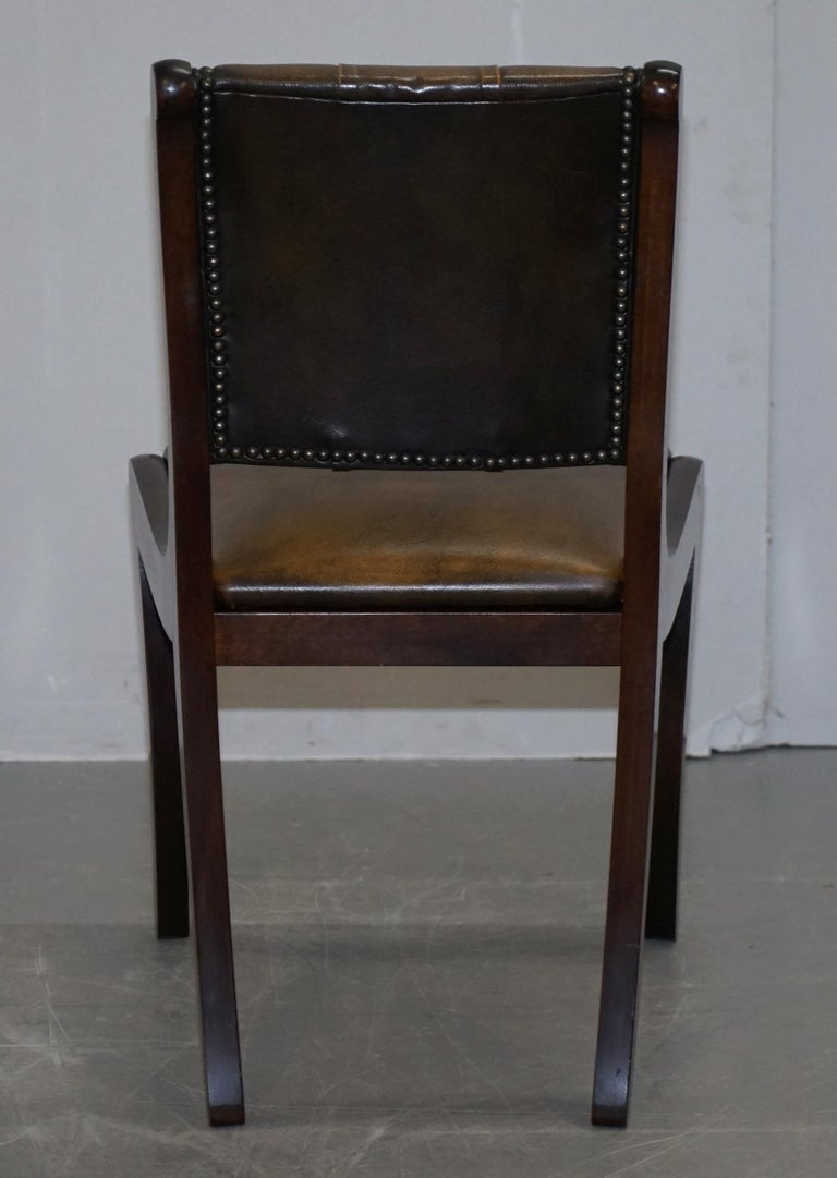 Suite of Four Aged Pretol Brown Leather & Mahogany Chesterfield Dining Chairs 4 For Sale 3