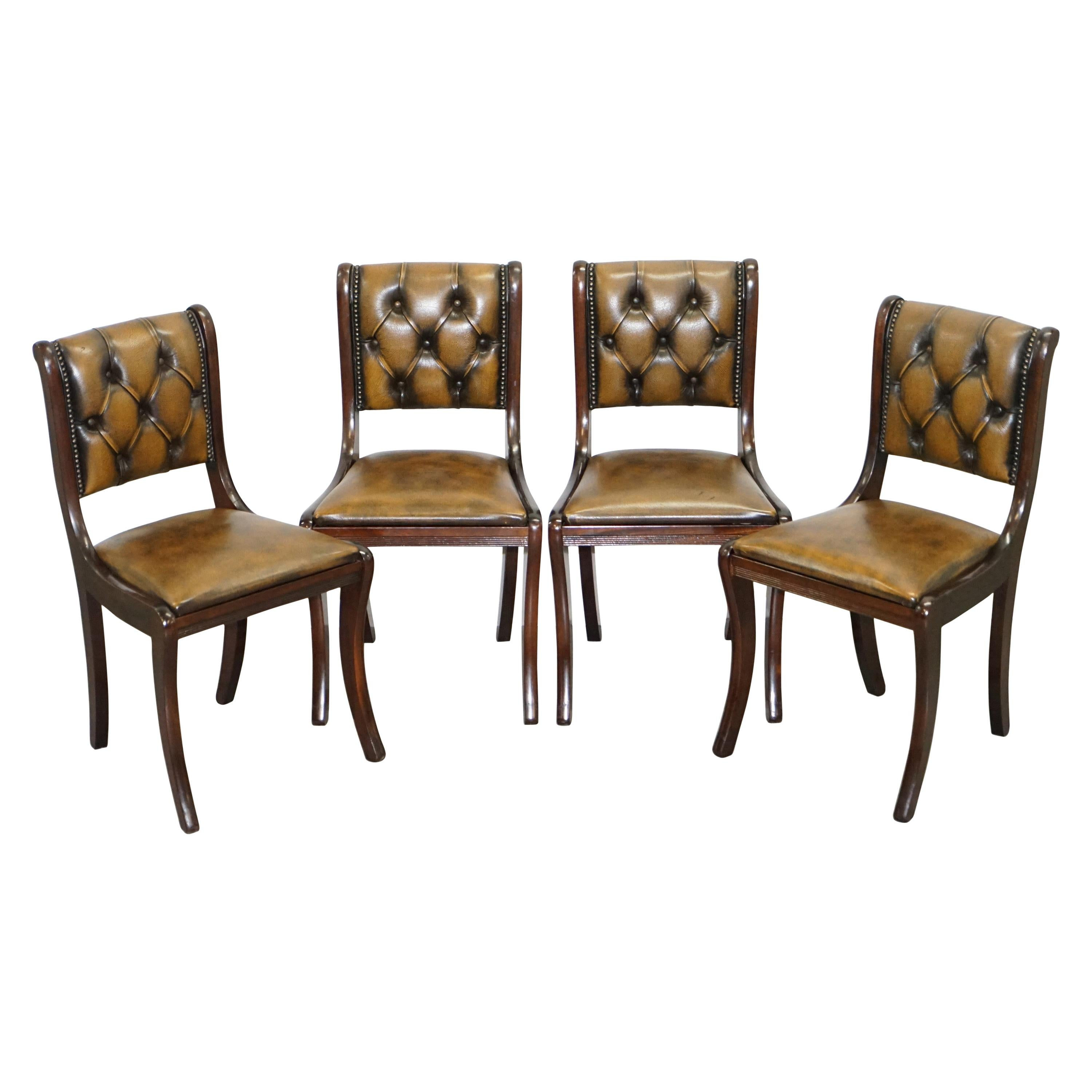 Suite of Four Aged Pretol Brown Leather & Hardwood Chesterfield Dining Chairs 4