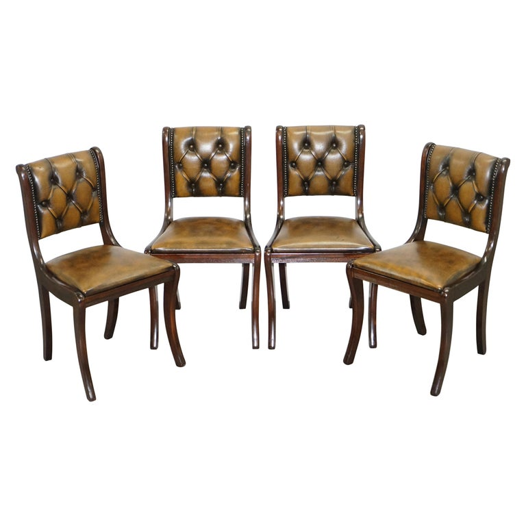 Suite of Four Aged Pretol Brown Leather & Mahogany Chesterfield Dining Chairs 4 For Sale
