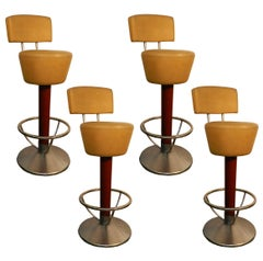 Suite of Four Bar Stools, Stained Beech, Steel and Faux Leather, circa 1970