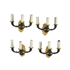 Suite of Four Empire Style Three-Arm Wall Sconces