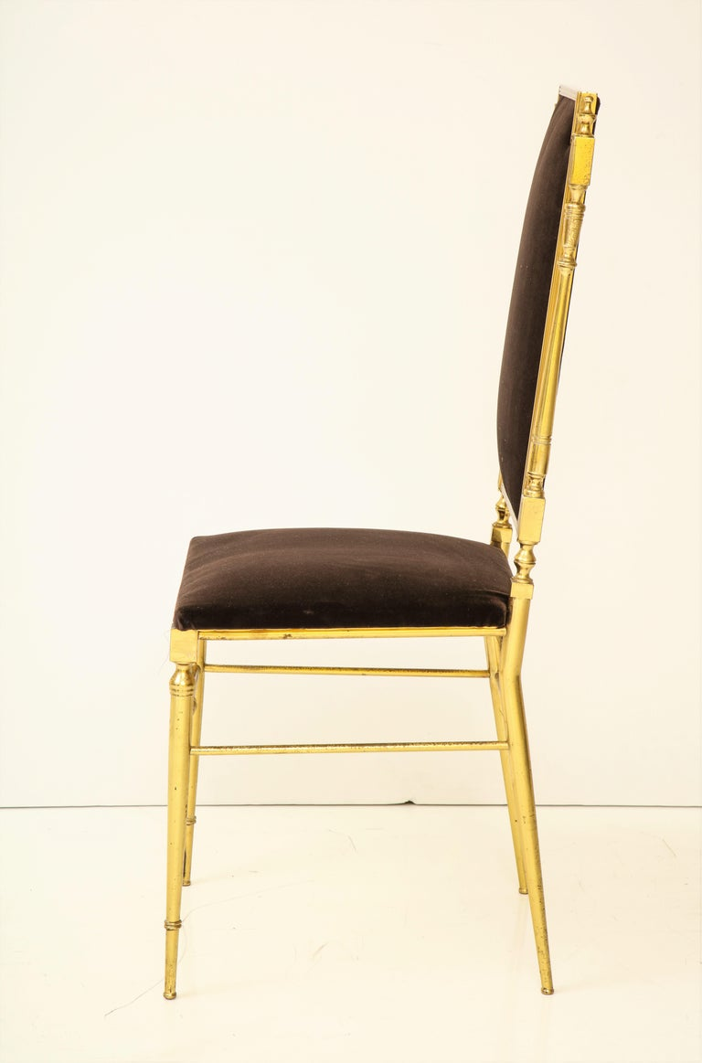Suite of Four Solid Brass Chiavari Chairs, Italy, 1970s For Sale 4