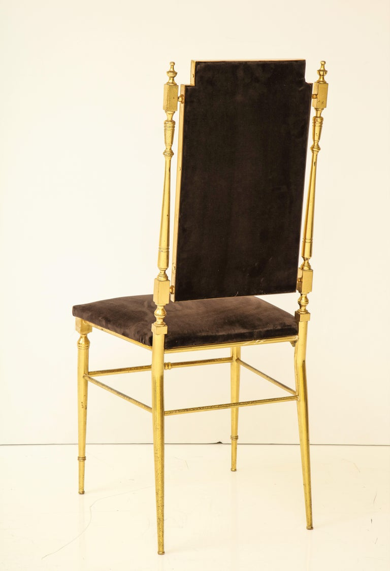 Suite of Four Solid Brass Chiavari Chairs, Italy, 1970s For Sale 5