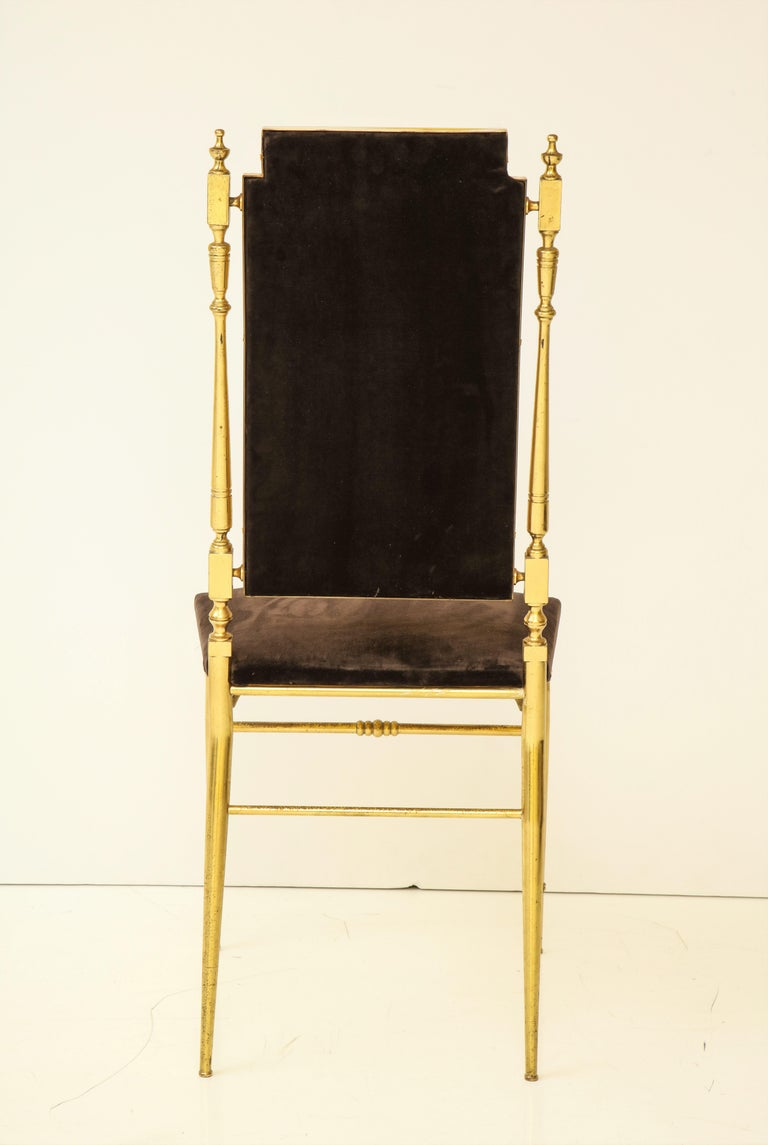 Suite of Four Solid Brass Chiavari Chairs, Italy, 1970s For Sale 6