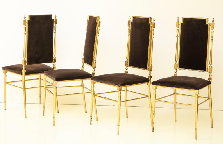 Italian Suite of Four Solid Brass Chiavari Chairs, Italy, 1970s For Sale
