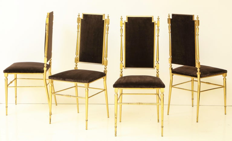 Amsterdam School Suite of Four Solid Brass Chiavari Chairs, Italy, 1970s For Sale