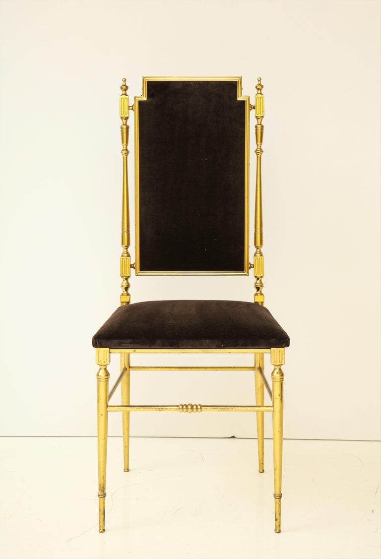 Suite of Four Solid Brass Chiavari Chairs, Italy, 1970s In Good Condition For Sale In New York, NY