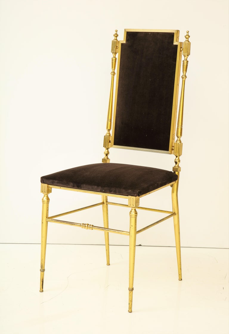 Suite of Four Solid Brass Chiavari Chairs, Italy, 1970s For Sale 3