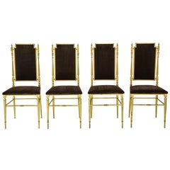 Suite of Four Solid Brass Chiavari Chairs, Italy, 1970s