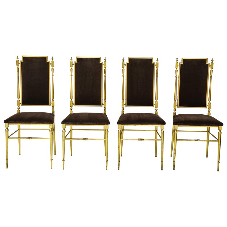 Suite of Four Solid Brass Chiavari Chairs, Italy, 1970s For Sale