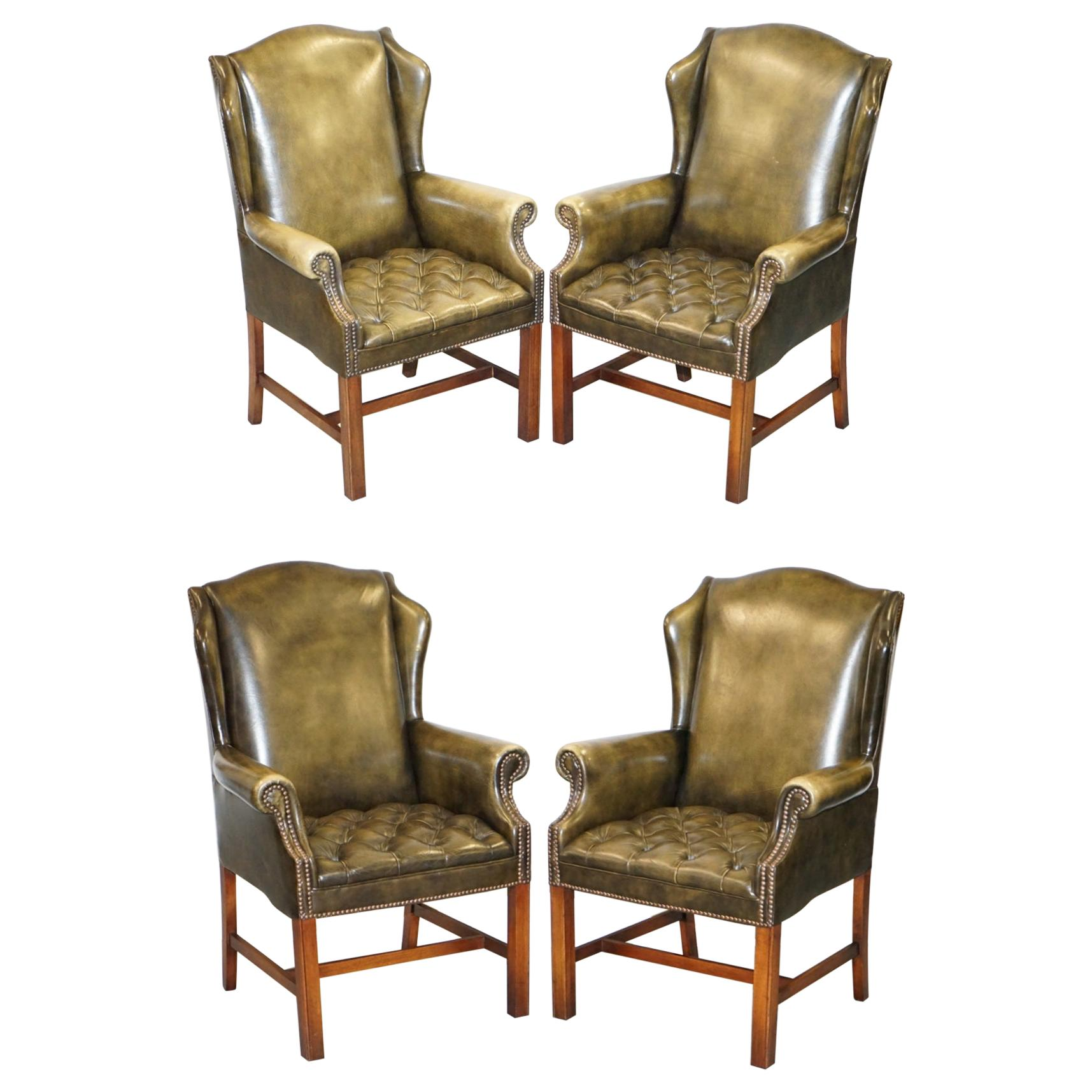 Suite of Four Vintage Green Leather Chesterfield Wingback Armchairs from Wade