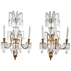Suite of Russian, Cut Crystal Sconces