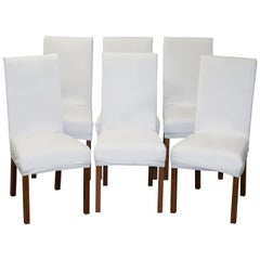 Suite of Six Bicast Leather Contemporary Dining Chairs with Custom Made Covers