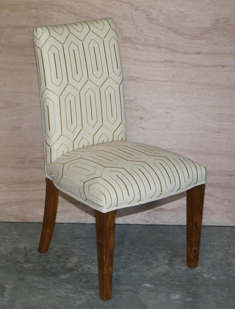 Suite of Six Premium Viscount David Linley American Walnut Dining Chairs 6 For Sale 4