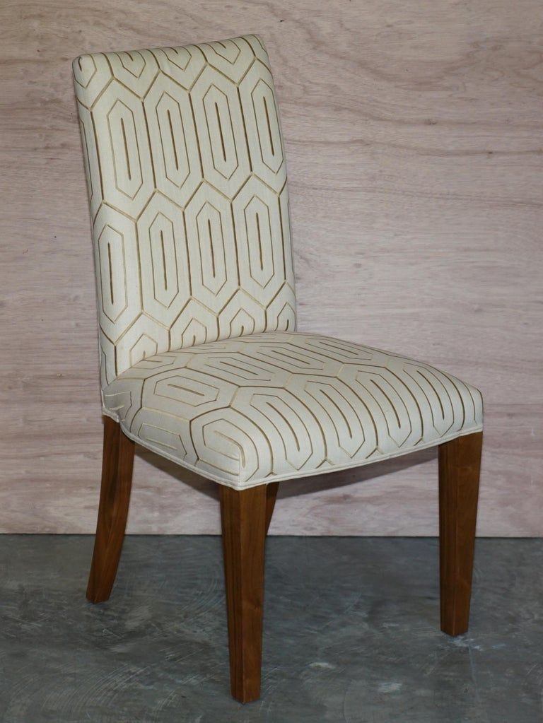 Suite of Six Premium Viscount David Linley American Walnut Dining Chairs 6 For Sale 7