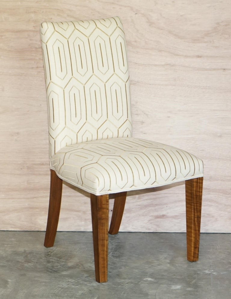 Art Deco Suite of Six Premium Viscount David Linley American Walnut Dining Chairs 6 For Sale