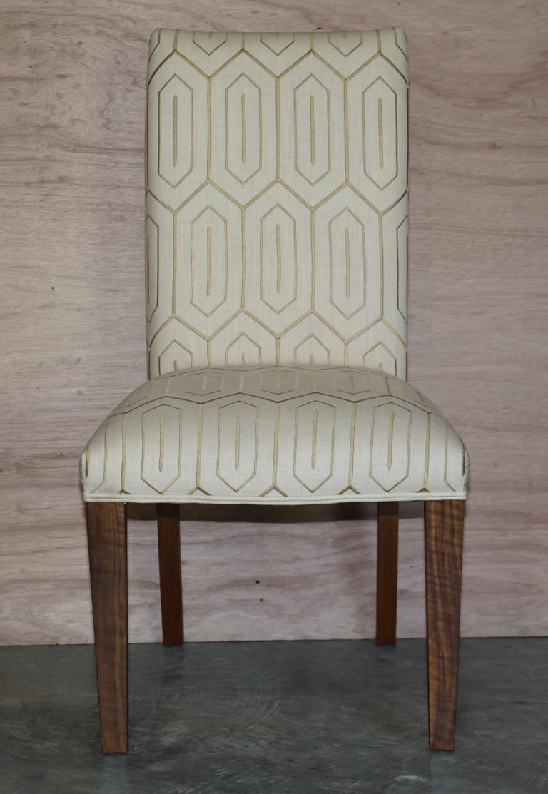 British Suite of Six Premium Viscount David Linley American Walnut Dining Chairs 6 For Sale