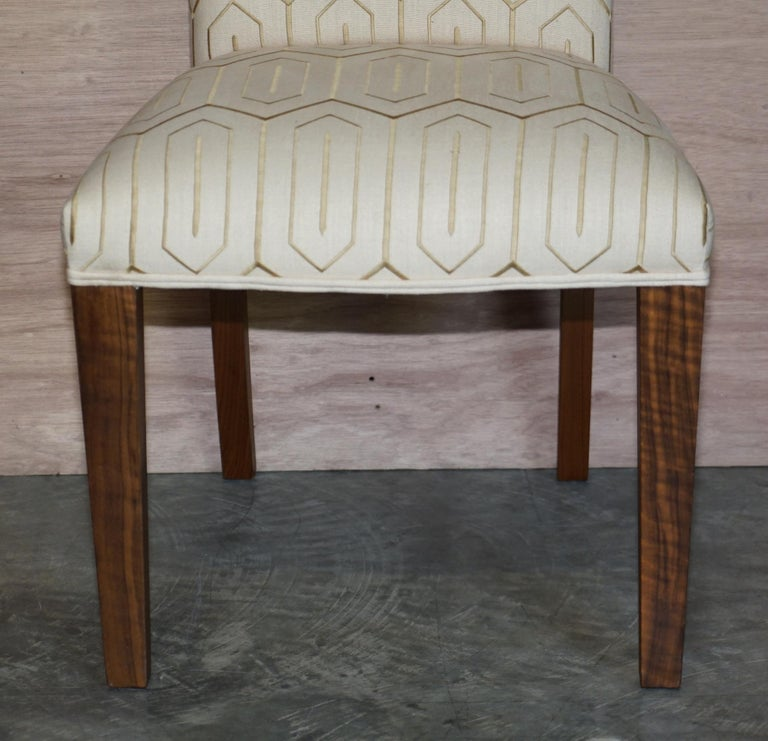Hand-Crafted Suite of Six Premium Viscount David Linley American Walnut Dining Chairs 6 For Sale