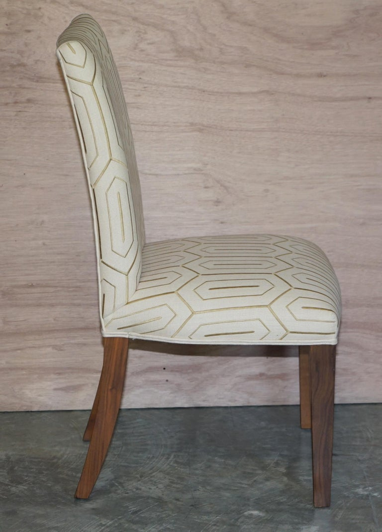 Suite of Six Premium Viscount David Linley American Walnut Dining Chairs 6 For Sale 1