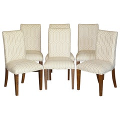 Suite of Six Premium Viscount David Linley American Walnut Dining Chairs 6