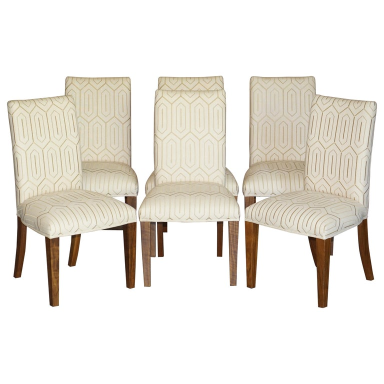 Suite of Six Premium Viscount David Linley American Walnut Dining Chairs 6 For Sale