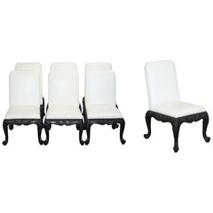 Suite of Six Ralph Lauren Bel Air White Leather Dining Chairs Carved