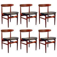 Suite of Six Scandinavian Teak Chairs circa 1960, Made in Denmark