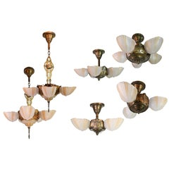 Suite of Six Streamline Art Deco Slip Shade Fixtures 1930s by Globe Lighting